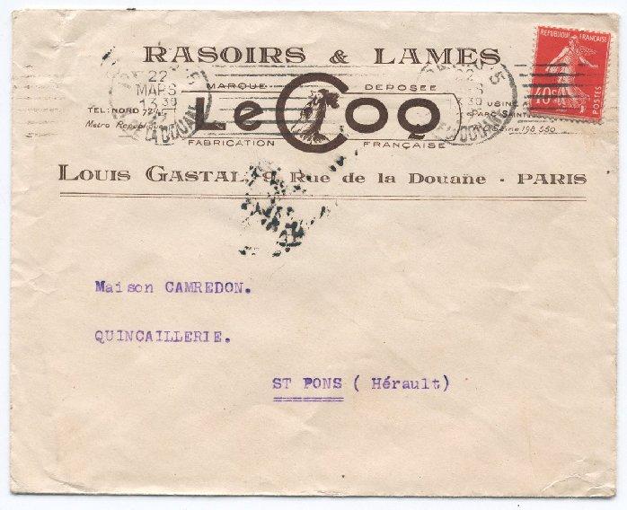 Enveloppe Rasoir Le Coq