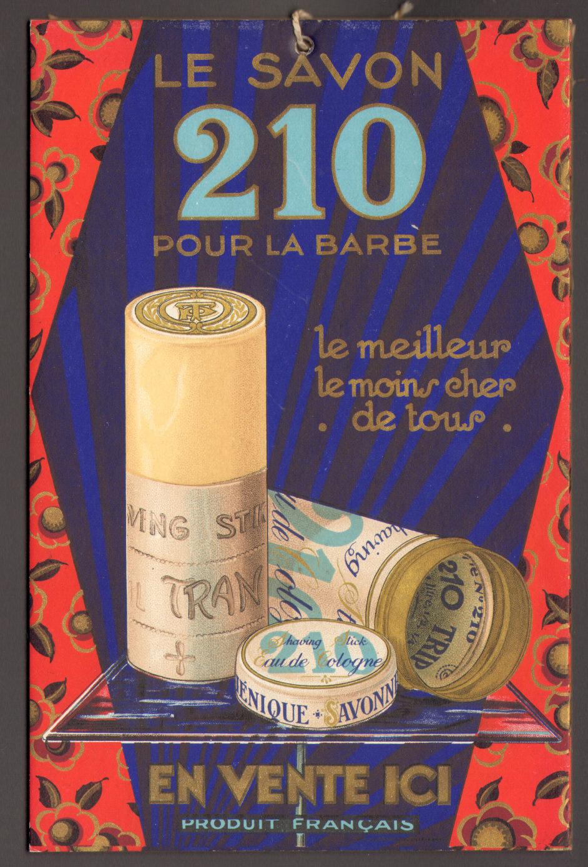 Savon à barbe 210 - Publicité cartonnée - France - Années 1930