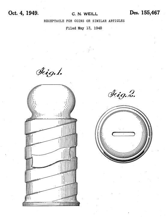 brevet pour tirelire ou boite de lames usagees 1949