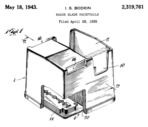 brevet pour un receptacle de lames usagees 1943