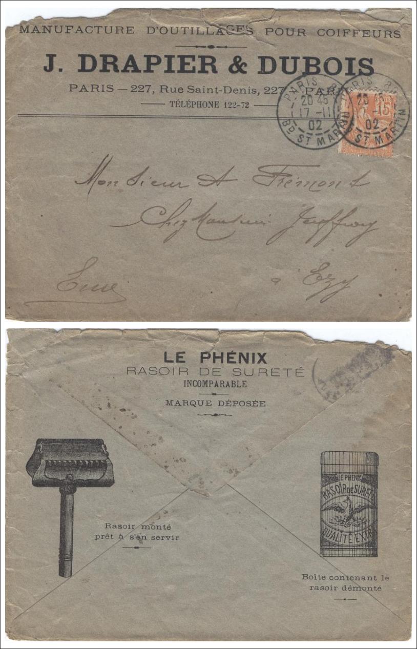 Enveloppe J Drapier et Dubois 1902